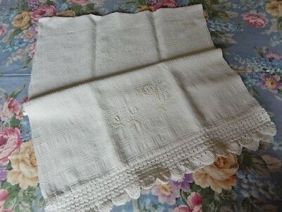 Antique 19thc Homespun Textured Linen Towel w Monogram & Hand Crocheted Lace