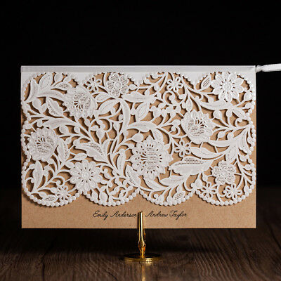 Personlized White Hollow Lace Laser Cut Wedding Party Invitations With Envelopes