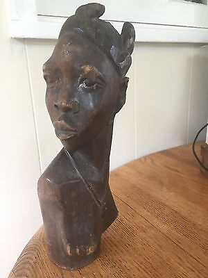 African D R Congo Old Tribal Bakongo Female Wood Statue