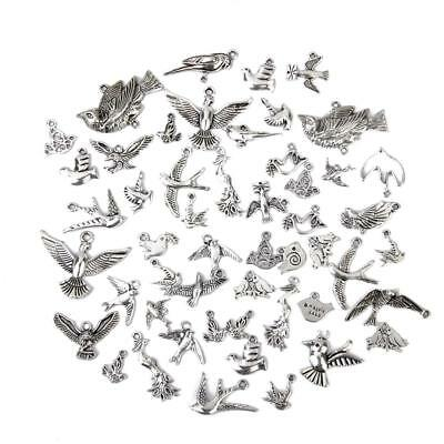 50pcs Tibetan Silver Bird Charms Pendant for DIY Jewelry Making Necklace