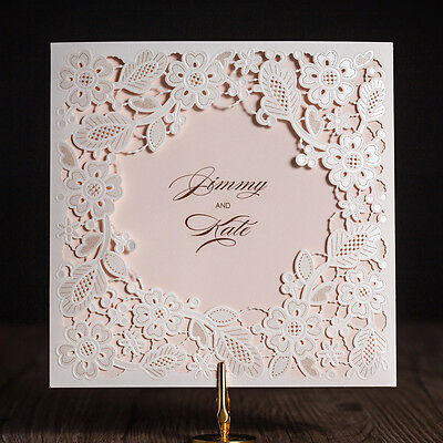 Personlize White Hollow Lace Laser Cut Wedding Party Invitations With Envelopes