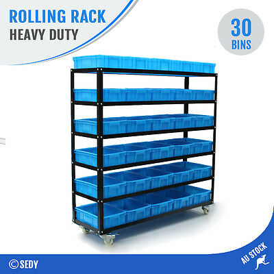 30 Bin Rolling Storage Rack Nuts & Bolts Organizer Wheels Brake Heavy Duty