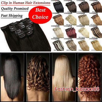 HOT CLIP IN 100% REAL REMY HUMAN HAIR EXTENSIONS - Brown Blonde Black FULL HEAD