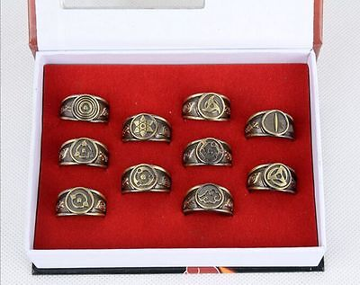 10 pcs Naruto Black Akatsuki Ring Set in Box Great Gift Collection Anime Cosplay