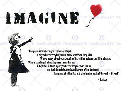 Banksy Imagine City Graffiti Girl Balloon Quote Typography Poster Print Qu010