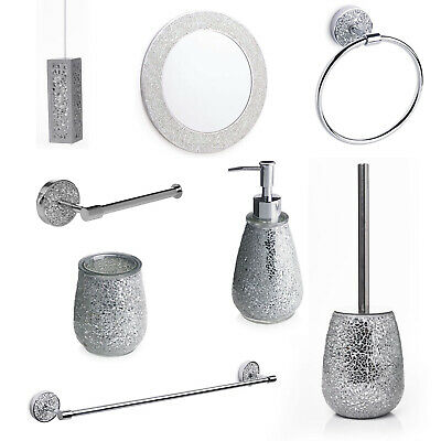 Silver Mosaic Bathroom Accessories. Silver Sparkle Mirror Accessory Set