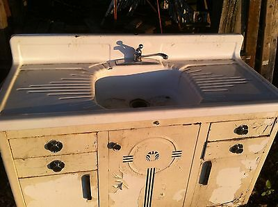 Architectural Salvage  Cast Iron  Porcelain Farm Kitchen Sink with cabinet