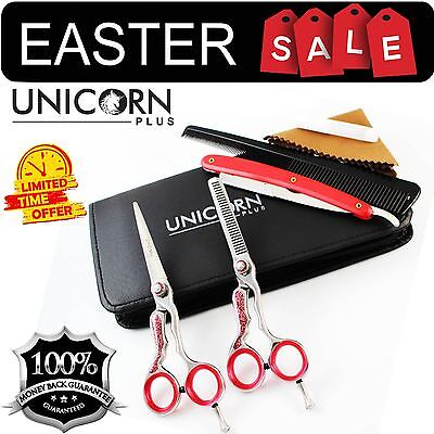 Professional Hair Cutting & Thinning Scissors Shears Hairdressing Set + Pouch