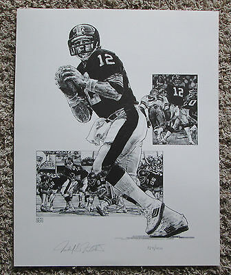 Vintage Terry Bradshaw Numbered Lithograph Coa Pittsburgh Steelers