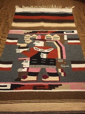 VTG HAND LOOMED RUG BLANKET Wool Kilim SOUTH AMERICAN TRIBAL Figure RARE Aztec
