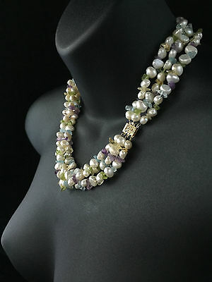 Vintage 14Ct Gold Multistrand Keshi Cultured Pearl And Gemstones Necklace - 432