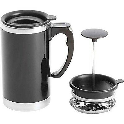 21 oz Stainless Steel Double Wall French Press Coffee Mug. Tea Cup Maker Travel