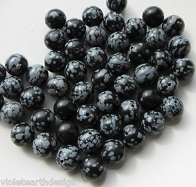 20 Snowflake Obsidian Round Beads 10mm Black and White Gemstone Spacers