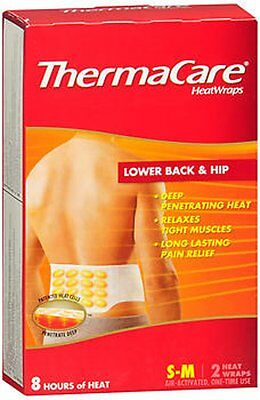 ThermaCare HEAT Wraps LOWER BACK & HIP 2 Heat Wraps- 8 hours S-M (Small- Medium)