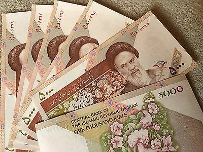Iran Iranian 5000 5,000 Rial Banknote Currency Paper Money P-149 UNC 5 Notes