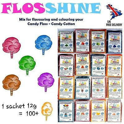 FLOSSHINE 12g mix,to make own candy floss sugar 25 flavours &10 colours