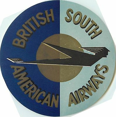 BRITISH SOUTH AMERICAN AIRWAYS - Great / Large Sized Airline Luggage Label, 1955
