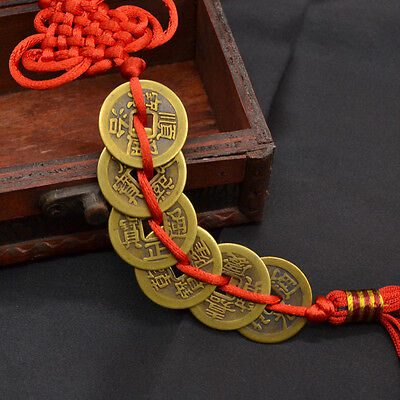 Wealth Success 6 Copper Coins China Knot Red Rope FengShui Lucky Home Decor 1x