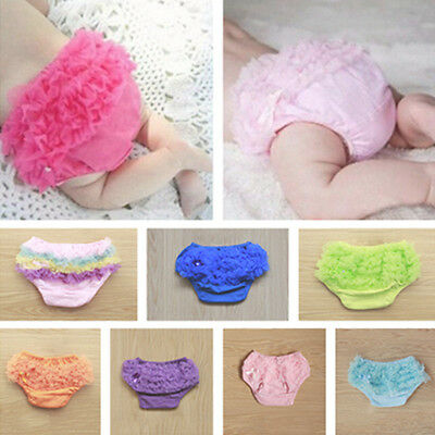 Newborn Baby 0-12M Girls Cotton Lace Ruffle Nappy Diaper Cover Bloomers Panties