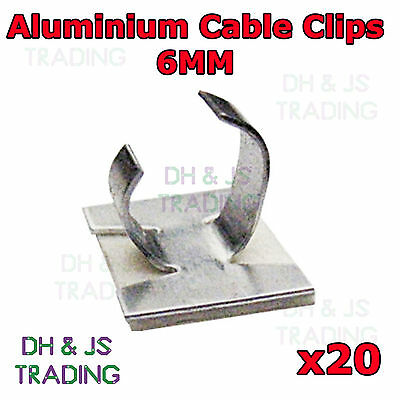 20 x 6mm Aluminium Cable Clips Self Adhesive Cable Clip Wire Sleeving Conduit