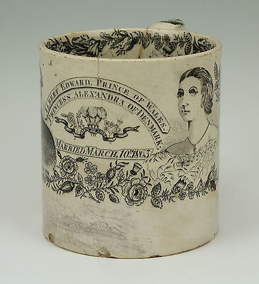 ANTIQUE PRINCE ALBERT EDWARD & PRINCESS ALEXANDRA COMMEMORATIVE MUG c.1863