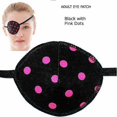Medical Eye Patch BLACK AND PINK SPOTS, Soft and Washable