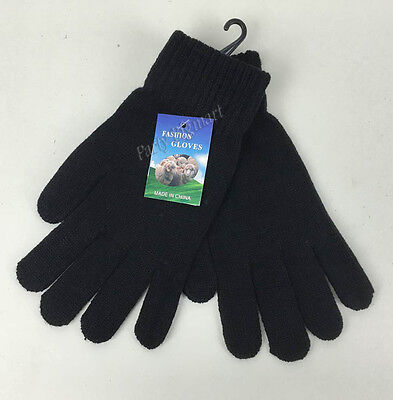 New Womens Winter  Black Full Finger Warm Gloves Soft Knit Comfy-Au Stock