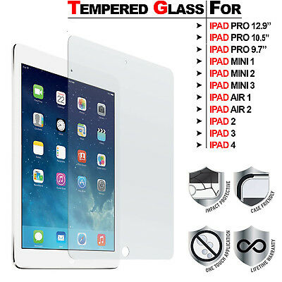 "Tempered Glass Screen Protector For iPad 4 3 2 Air 2 1 Mini 3 2 1 Pro 12.9""/9.7"""