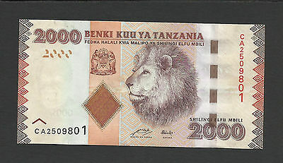 Uncirculated Banknote 2000 Shillings Lion BANK OF TANZANIA UNC