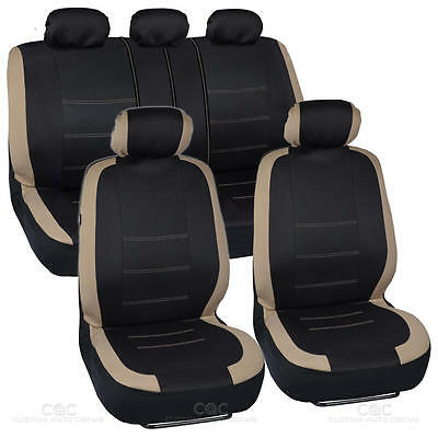 Black and Beige Cloth Car Seat Covers Headrests Split Option Bench for Auto