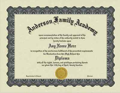 A Fun/Fake/Gag Bordered High school-GED-College Diploma with Gold seal