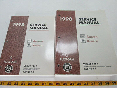 GM 1998 Aurora, Riviera Factory Service Manual Volumes 2 & 3 Only G Platform L