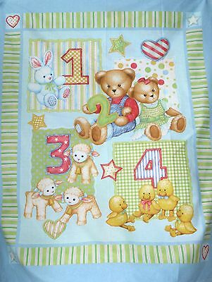 Blue Jeans Teddy 1 2 3  cot quilt (daisy kingdom)