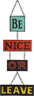 Hanging Metal 4 Panel Wall Plaque Retro Sign - Be Nice Or Leave