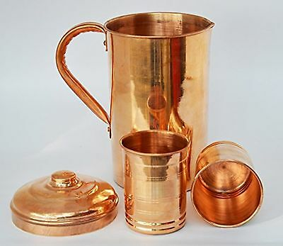 2 Pieces Drinking Water Glasses With 1 Copper Pitcher Jug , The Great Ayurveda