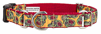 Country Brook Petz™ Sugar Skulls Ribbon Martingale With Deluxe Buckle Dog Collar