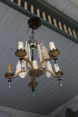 Art Deco Ceiling Light Chandelier With 6 Candles  Style Lights