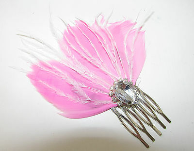 Pink Silver Feather Fascinator Races Hair Comb Vintage 1920s 1940s Art Deco B81