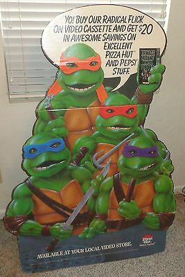 Teenage Mutant Ninja Turtles The Movie On Video Standee DIsplay Pizza Hut 1990