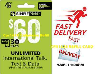SIMPLE MOBILE $60 UNLIMITED Monthly Plan Refill, FAST Directly to your phone