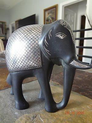 RARE Black Solid Metal Elephant with Silver Overlay Figurine Statue 3 Lbs!*EUC!