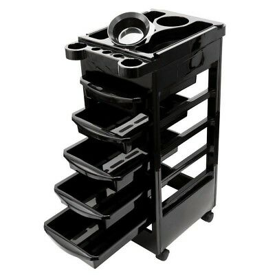 Hairdressing Salon Spa Trolley Storage Cart Coloring Beauty Barber 5 Tier Drawer