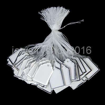 500 White Paper Price Strung String Swing Tags Clothing Watch Display Label