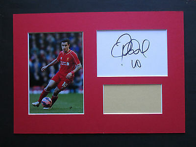 Liverpool Philippe Coutinho Hand Signed A4 Mounted Card & Photo Display - Coa