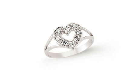 Childrens Heart Silver Ring Sparkly Gemset Platinum Plated 925 Hallmark