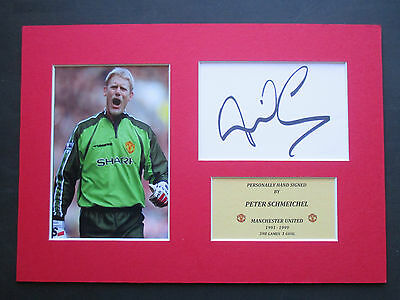 Manchester United Peter Schmeichel Signed A4 Mounted Card & Photo Display - Coa