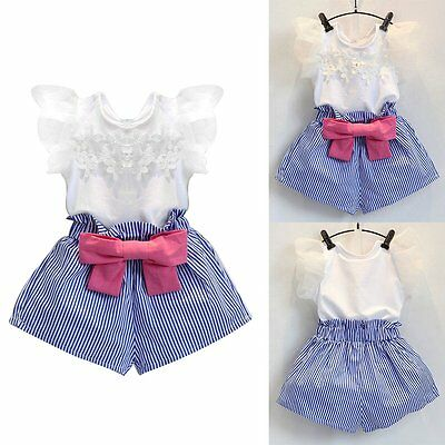 Toddler Kids Baby Girls Outfit Clothes Lace T-shirt Tops+Shorts Pants 2PCS Sets