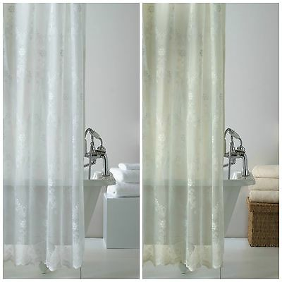 Lace Bathroom Shower Curtain with Hooks 180cm x 180cm