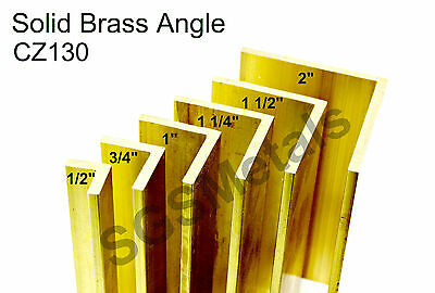 Solid Brass ANGLE L section- CZ130 Extruded Bandsaw Cut - 6 Sizes & 7 Lengths