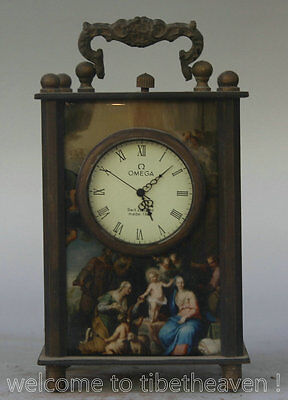 """5"""" Excellent Old Chinese Copper Occident Rich Figures Mechanical Desk Clock Q"""